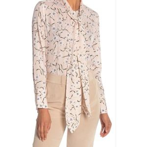 NWT Equipment Luis Tie Neck Floral Silk Blouse